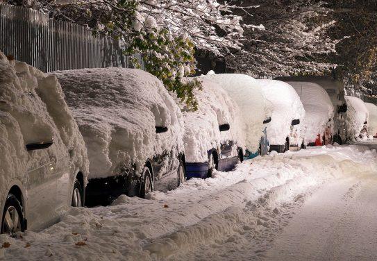 snow, street, cars